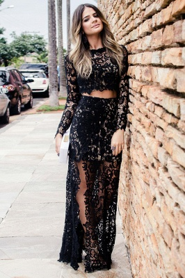 Cheap Two Piece Prom Dresses UK Online | Long Sleeve Slit Lace Evening Dress_2