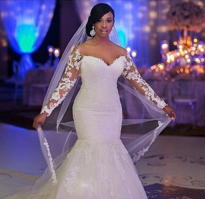 Elegant Off-the-shoulder Long Sleeve Sexy Mermaid Wedding Dress With Appliques BO7238_3