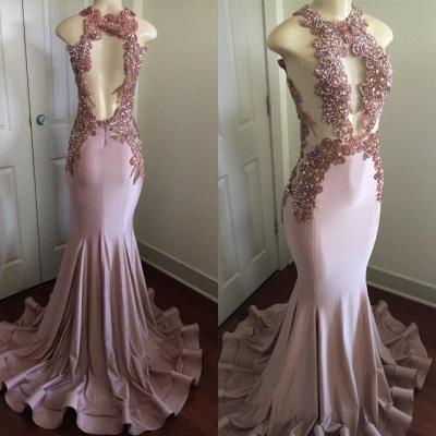 Modern Lace Appliques Sleeveless Prom Dress UK | Mermaid Prom Dress UK BA8042_5