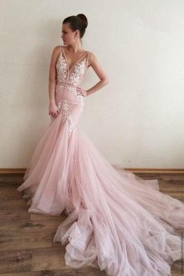 Luxury V-Neck Sleeveless Tulle Prom Dress UK Lace Appliques_1
