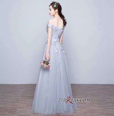 Lace-Up-Back Floor-Length Lace-Appliques Off-the-Shoulder A-line Prom Dress UKes UK_2