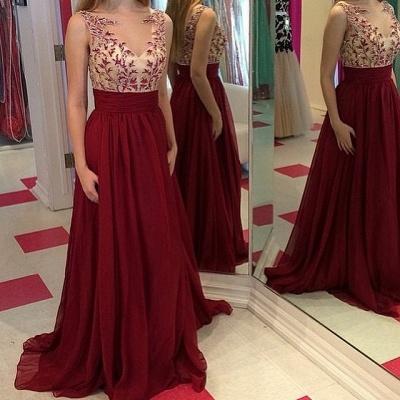 Luxury Burgundy Sleeveless Prom Dress UKes UK Long Chiffon Appliques Party Gowns_3