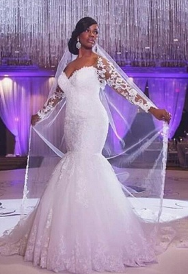 Elegant Off-the-shoulder Long Sleeve Sexy Mermaid Wedding Dress With Appliques BO7238_1