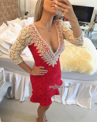 Pearls V-neck Bodycon Elegant Lace Mini Backless Short Homecoming Dress UK_5