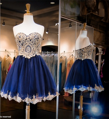 Luxurious Sleeveless Sweetheart Short Homecoming Dress UK Crystals Appliques_2
