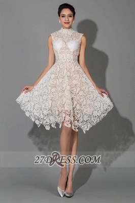 Sexy Halter Sleeveless Lace Homecoming Dress UK Knee-length With Beadings_1
