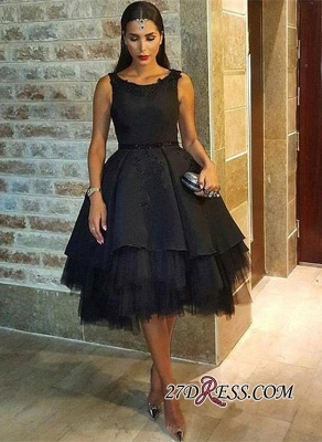 Elegant Lace Scoop Black Sleeveless Tulle Short Prom Dress UK BK0_4
