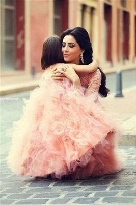 Long Sleeve Pink Lace Mermaid Wedding Dress With Ruffles Mother and Daughter Dress_2