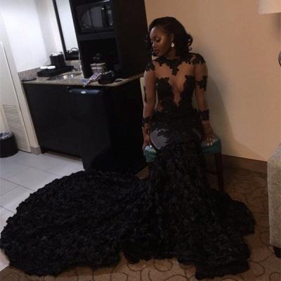 Elegant Black Long Sleeve Prom Dress UKes UK Lace Appliques Flowers Bottom ce066 BK0_3