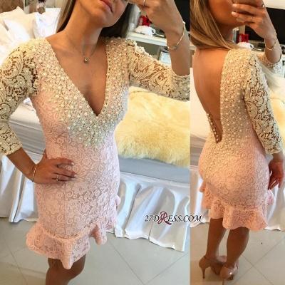 Pearls V-neck Bodycon Elegant Lace Mini Backless Short Homecoming Dress UK_4