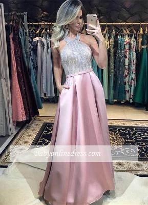 Halter A-Line Pink Prom Dress UK   Beadings Backless Evening Dress UK_3