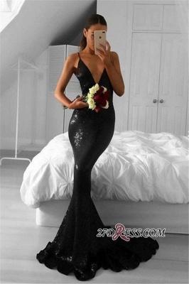 Elegant Sequined Black Mermaid Sweep-Train V-Neck Prom Dress UKes UK_2