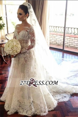 Long Elegant Sleeve Lace Tulle Beadss Royal Wedding Dress_2