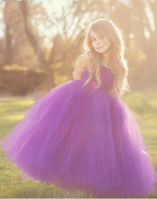 Lovely Sleeveless Purple Tulle Princess Flower Girl Dress Princess BA3422_2