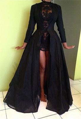 Elegant Black High Neck Detachable Evening Dress UK Long Sleeve_5