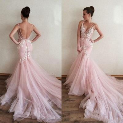 Luxury V-Neck Sleeveless Tulle Prom Dress UK Lace Appliques_4