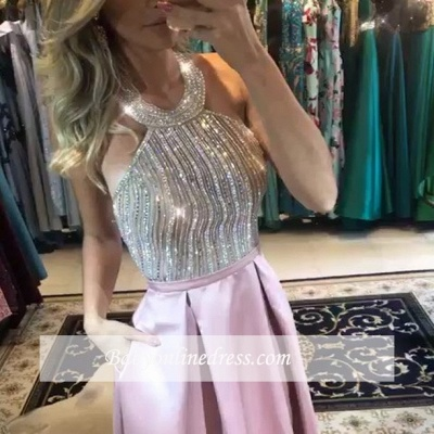 Halter A-Line Pink Prom Dress UK   Beadings Backless Evening Dress UK_2