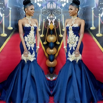 Navy Blue Halter Prom Dress UK | Mermaid Evening Gown With Appliques BK0_3