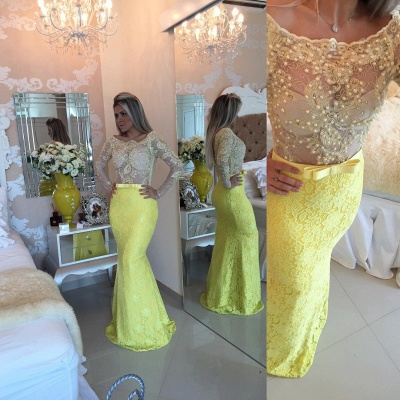 Stunning Yellow Long Sleeve Evening Dress UK Lace Mermaid Prom Gown_4