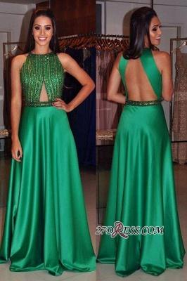 Floor-length Modest Green A-line Long Beads Sleeveless Jewel Prom Dress UK_2