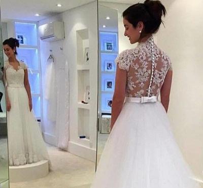 Dreamy Cap Sleeve Lace Wedding Dress Zipper Button Back Bridal Gowns_4