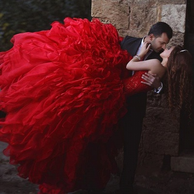 Elegant red Sweetheart Organza Prom Dress UKes UK Appliques Ball Gown TD023_3
