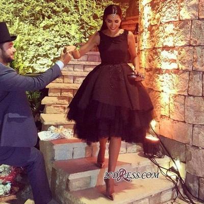 Elegant Lace Scoop Black Sleeveless Tulle Short Prom Dress UK BK0_5