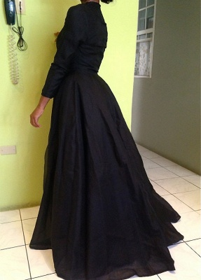 Elegant Black High Neck Detachable Evening Dress UK Long Sleeve_4
