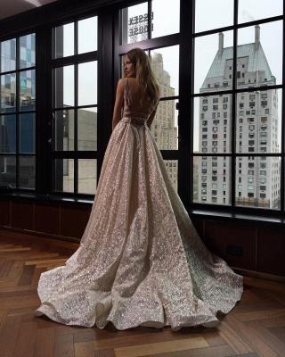 Elegant V-Neck Sleeveless Prom Dress UK Long Sequins BA3399_4