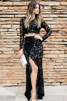 Cheap Two Piece Prom Dresses UK Online | Long Sleeve Slit Lace Evening Dress_1