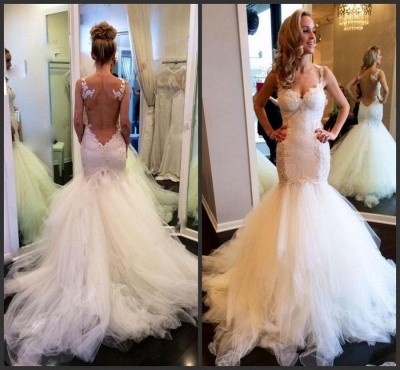 Fashion Sweetheart Sleeveless Wedding Dress Lace Sexy Mermaid Tulle Bridal Gowns_3