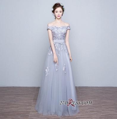 Lace-Up-Back Floor-Length Lace-Appliques Off-the-Shoulder A-line Prom Dress UKes UK_1