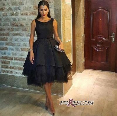 Elegant Lace Scoop Black Sleeveless Tulle Short Prom Dress UK BK0_3