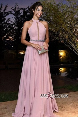 Halter Pink Simple A-Line Chiffon Crystal Prom Dress UKes UK_3