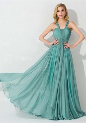 Sexy Straps A-line Chiffon Evening Dress UK Sweep Train_1