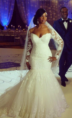 Elegant Off-the-shoulder Long Sleeve Sexy Mermaid Wedding Dress With Appliques BO7238_4