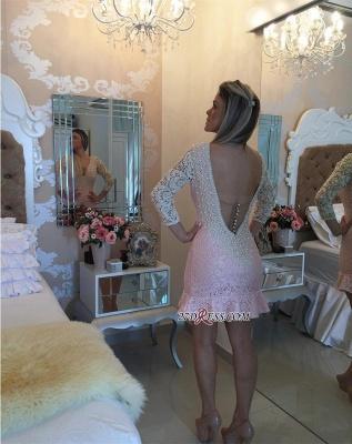 Pearls V-neck Bodycon Elegant Lace Mini Backless Short Homecoming Dress UK_1