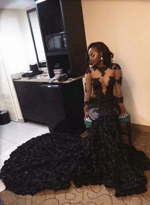 Elegant Black Long Sleeve Prom Dress UKes UK Lace Appliques Flowers Bottom ce066 BK0_1