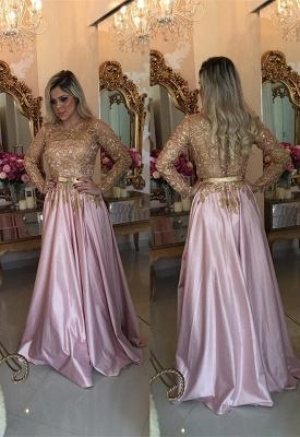 Gorgeous Gold Appliques Evening Dress UK A-Line Long Sleeve BMT_1