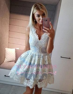 Light-blue Lace Short A-line V-neck Homecoming Dress UK_1