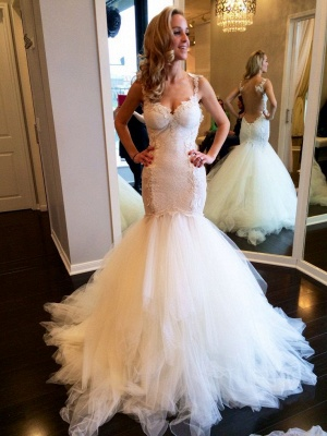 Fashion Sweetheart Sleeveless Wedding Dress Lace Sexy Mermaid Tulle Bridal Gowns_1
