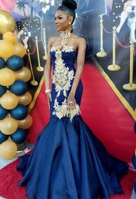 Navy Blue Halter Prom Dress UK | Mermaid Evening Gown With Appliques BK0_2