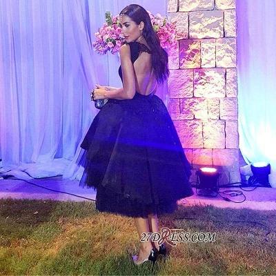 Elegant Lace Scoop Black Sleeveless Tulle Short Prom Dress UK BK0_2