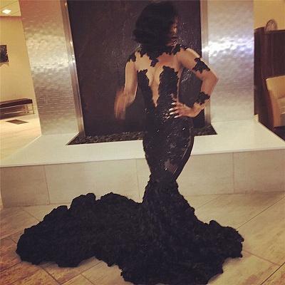 Elegant Black Long Sleeve Prom Dress UKes UK Lace Appliques Flowers Bottom ce066 BK0_2