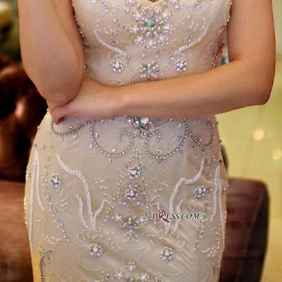 V-Neck crystal prom Dress UK, mermaid long evening Dress UK_1