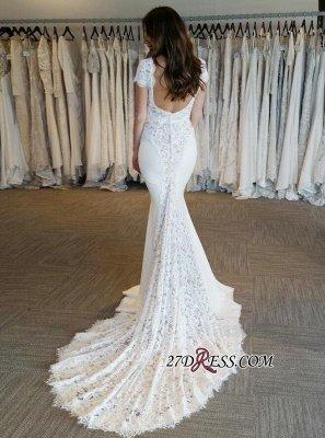Elegant Cap Sleeve Sexy Mermaid V-Neck Lace Applique Wedding Dresses UK Online_2