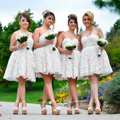 Sexy Sweetheart Lace Bridesmaid Dress UK Short Party Gowns_4