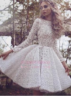 White Long-Sleeves Short Gorgeous Full-Lace Homecoming Dress UK BA3645_1