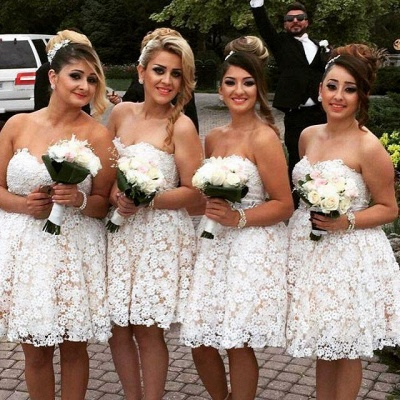 Sexy Sweetheart Lace Bridesmaid Dress UK Short Party Gowns_3