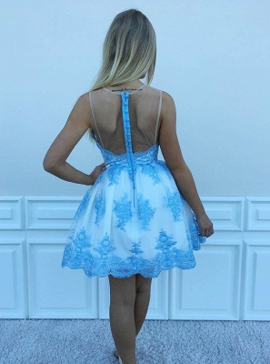 Delicate Lace Appliques Sleeveless A-line Homecoming Dress UK | Short Party Gown_3